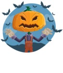 Farm Scarecrow Cartoon Vector Character AKA Peet Pumpkinhead - With Halloween Background with Bats