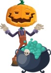 Farm Scarecrow Cartoon Vector Character AKA Peet Pumpkinhead - With Halloween Caldron