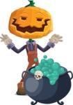 Farm Scarecrow Cartoon Vector Character AKA Peet Pumpkinhead - With Halloween Caldron