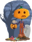 Farm Scarecrow Cartoon Vector Character AKA Peet Pumpkinhead - With Halloween Candies and Background