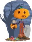 Farm Scarecrow Cartoon Vector Character AKA Peet Pumpkinhead - With Halloween Candies and Background