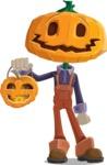 Farm Scarecrow Cartoon Vector Character AKA Peet Pumpkinhead - With Halloween Lantern