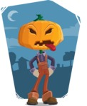 Farm Scarecrow Cartoon Vector Character AKA Peet Pumpkinhead - With Halloween Night Background