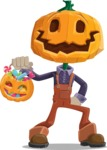 Farm Scarecrow Cartoon Vector Character AKA Peet Pumpkinhead - with Halloween Pumpkin and Candies