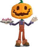 Farm Scarecrow Cartoon Vector Character AKA Peet Pumpkinhead - With Halloween Sweets