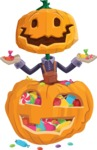 Farm Scarecrow Cartoon Vector Character AKA Peet Pumpkinhead - With Huge Pumpkin full of Treats