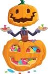 Farm Scarecrow Cartoon Vector Character AKA Peet Pumpkinhead - With Huge Pumpkin full of Treats