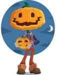 Farm Scarecrow Cartoon Vector Character AKA Peet Pumpkinhead - with Night Sky Background