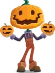 Farm Scarecrow Cartoon Vector Character AKA Peet Pumpkinhead - With Pumpkin