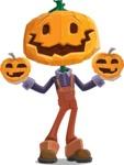 Farm Scarecrow Cartoon Vector Character AKA Peet Pumpkinhead - With Pumpkin