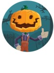Farm Scarecrow Cartoon Vector Character AKA Peet Pumpkinhead - With Simple Style Halloween Background