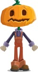 Farm Scarecrow Cartoon Vector Character AKA Peet Pumpkinhead - With Stunned Face