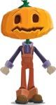 Farm Scarecrow Cartoon Vector Character AKA Peet Pumpkinhead - With Stunned Face