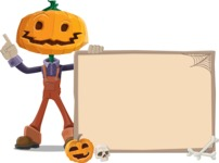 Farm Scarecrow Cartoon Vector Character AKA Peet Pumpkinhead - With Whiteboard on Halloween Theme