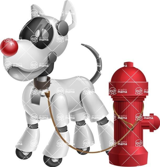 Artificial Intelligence Robot Dog Cartoon Vector Character AKA HERB - Fireplug