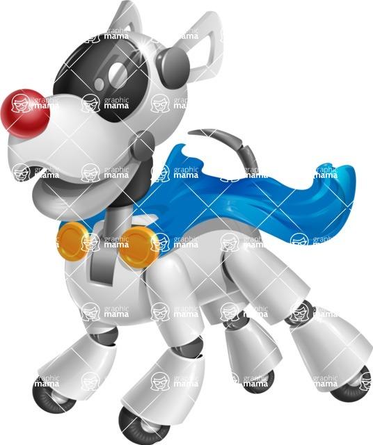 Artificial Intelligence Robot Dog Cartoon Vector Character AKA HERB - Super Dog