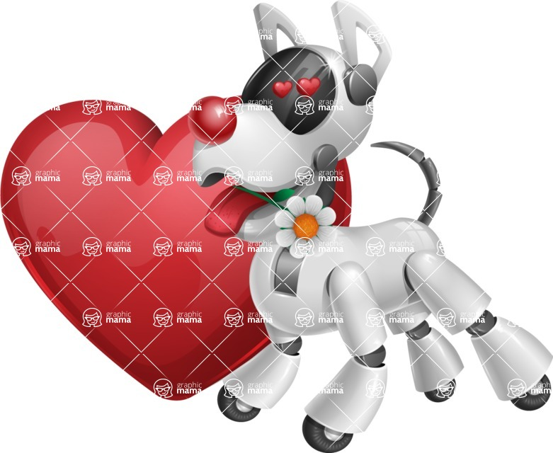 Artificial Intelligence Robot Dog Cartoon Vector Character AKA HERB - Lover
