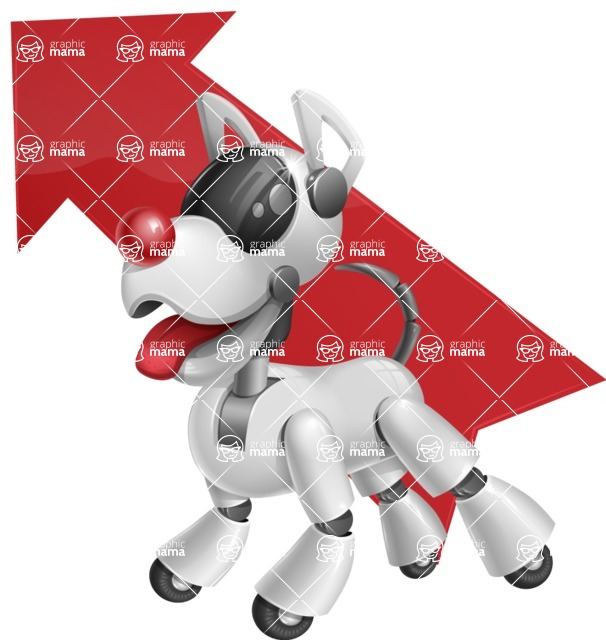 Artificial Intelligence Robot Dog Cartoon Vector Character AKA HERB - Arrow