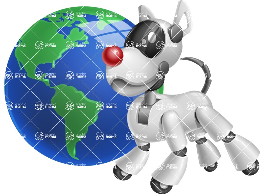 Artificial Intelligence Robot Dog Cartoon Vector Character AKA HERB - Earth