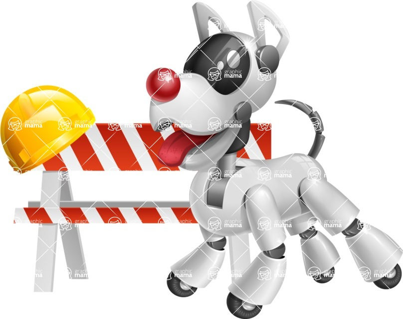 Artificial Intelligence Robot Dog Cartoon Vector Character AKA HERB - Under Construction1