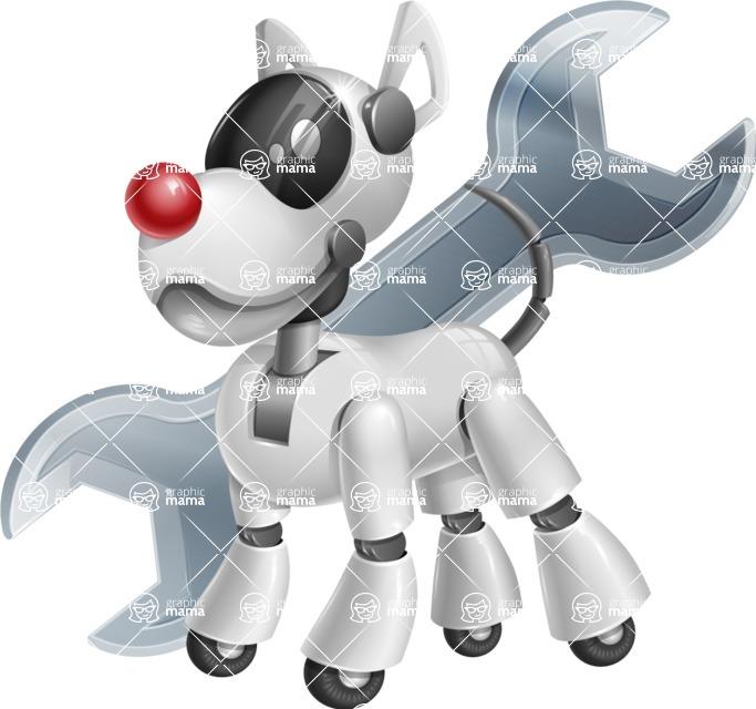 Artificial Intelligence Robot Dog Cartoon Vector Character AKA HERB - Repair