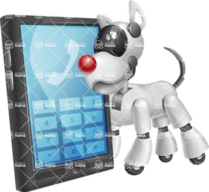 Artificial Intelligence Robot Dog Cartoon Vector Character AKA HERB - Phone
