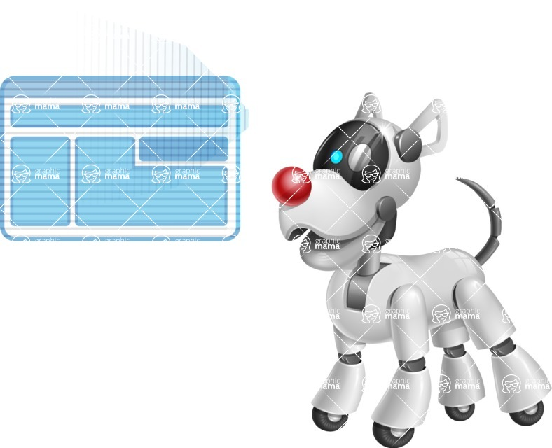 Artificial Intelligence Robot Dog Cartoon Vector Character AKA HERB - Multimedia