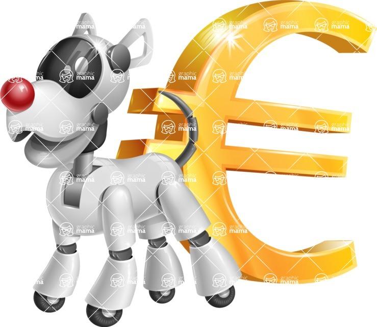Artificial Intelligence Robot Dog Cartoon Vector Character AKA HERB - Euro