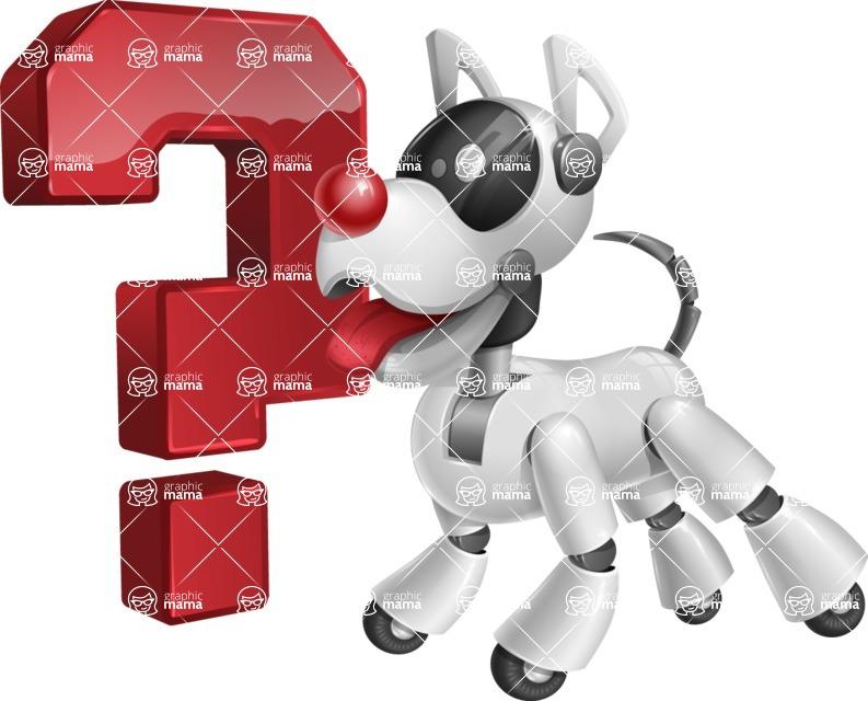 Artificial Intelligence Robot Dog Cartoon Vector Character AKA HERB - Question