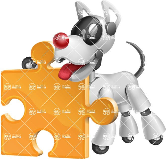Artificial Intelligence Robot Dog Cartoon Vector Character AKA HERB - Puzzle