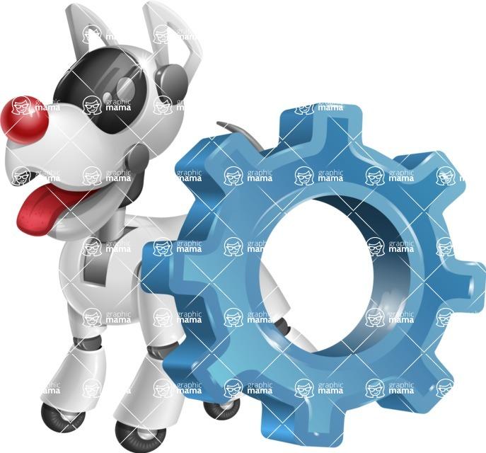 Artificial Intelligence Robot Dog Cartoon Vector Character AKA HERB - Gear