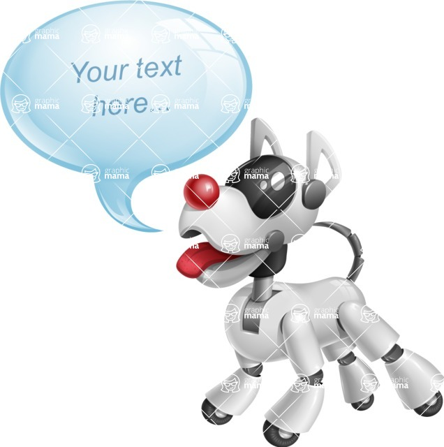 Artificial Intelligence Robot Dog Cartoon Vector Character AKA HERB - Text Bubble