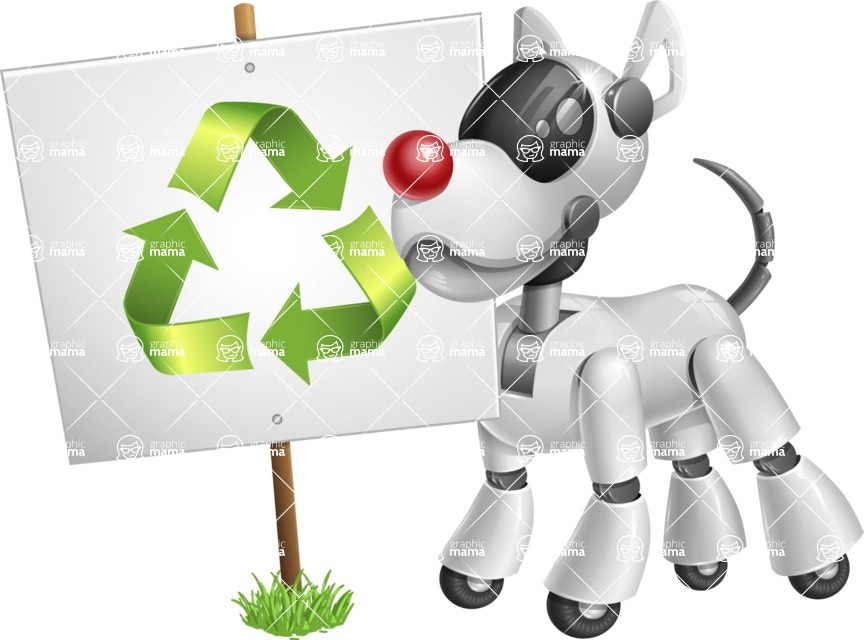 Artificial Intelligence Robot Dog Cartoon Vector Character AKA HERB - Recycling