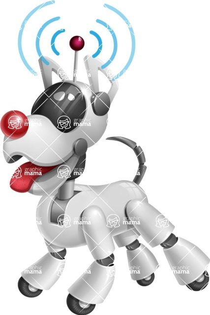 Artificial Intelligence Robot Dog Cartoon Vector Character AKA HERB - Wi-Fi