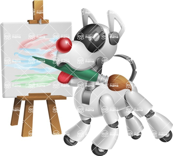 Artificial Intelligence Robot Dog Cartoon Vector Character AKA HERB - Artist