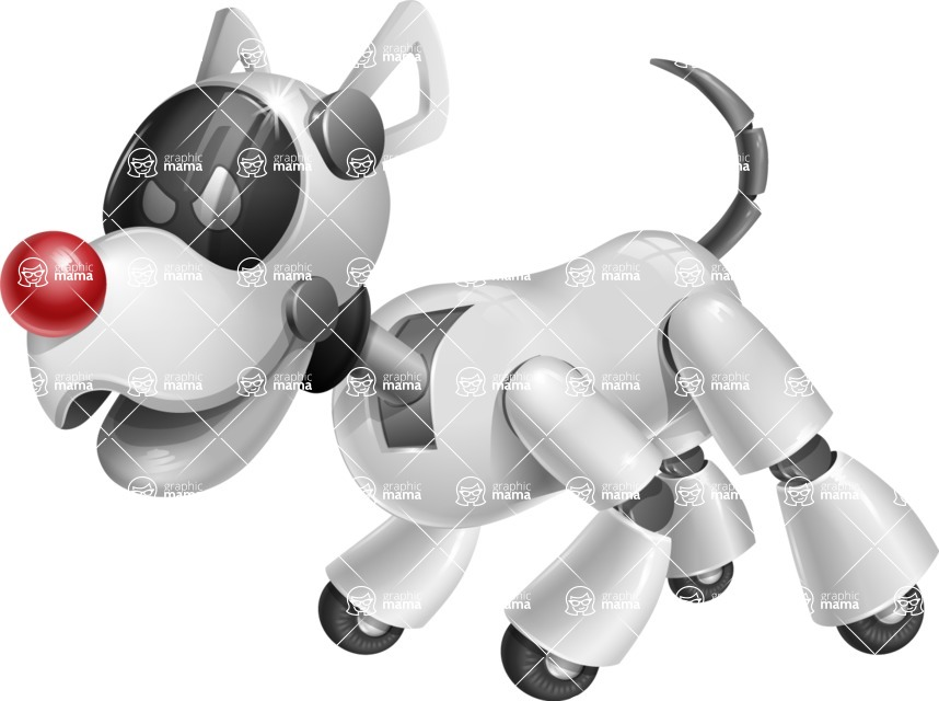Artificial Intelligence Robot Dog Cartoon Vector Character AKA HERB - Angry