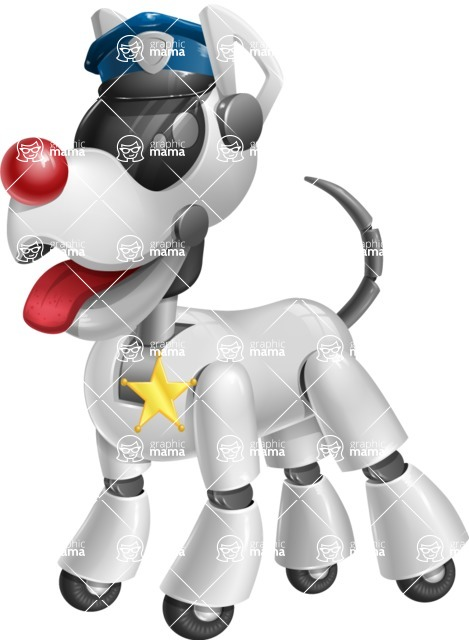 Artificial Intelligence Robot Dog Cartoon Vector Character AKA HERB - Police Dog
