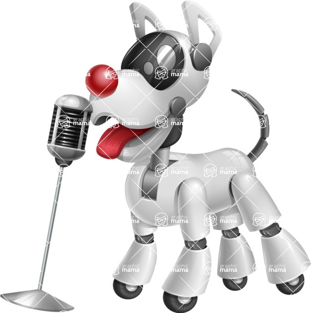 Artificial Intelligence Robot Dog Cartoon Vector Character AKA HERB - Sing