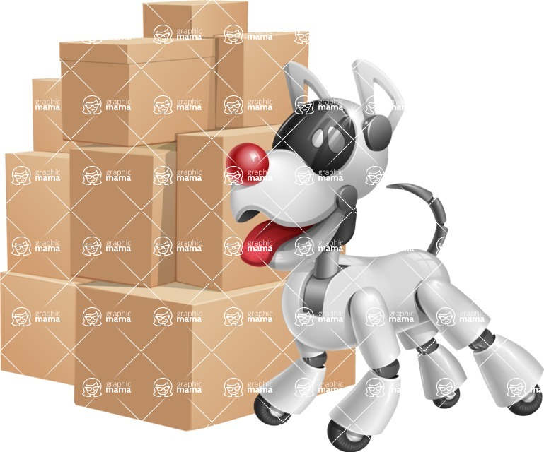 Artificial Intelligence Robot Dog Cartoon Vector Character AKA HERB - Delivery 2