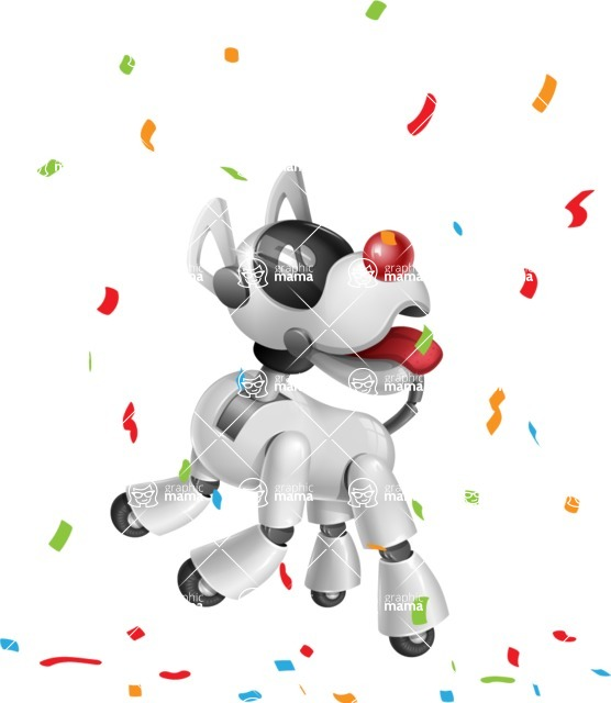 Artificial Intelligence Robot Dog Cartoon Vector Character AKA HERB - Party