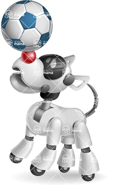 Artificial Intelligence Robot Dog Cartoon Vector Character AKA HERB - Soccer