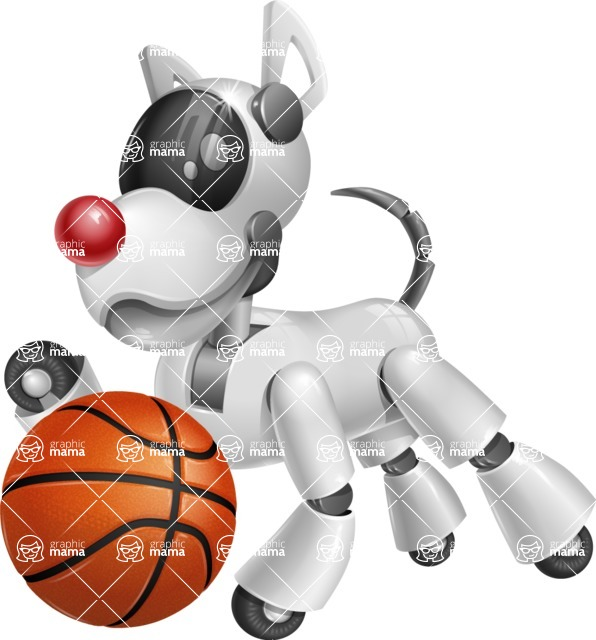 Artificial Intelligence Robot Dog Cartoon Vector Character AKA HERB - Basketball
