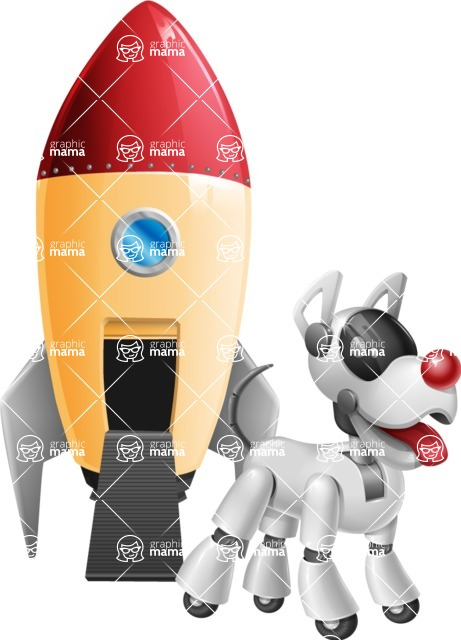 Artificial Intelligence Robot Dog Cartoon Vector Character AKA HERB - Rocket