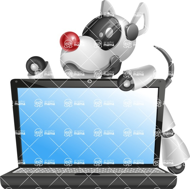 Artificial Intelligence Robot Dog Cartoon Vector Character AKA HERB - Laptop