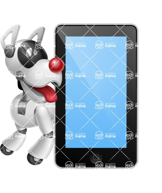 Artificial Intelligence Robot Dog Cartoon Vector Character AKA HERB - iPhone