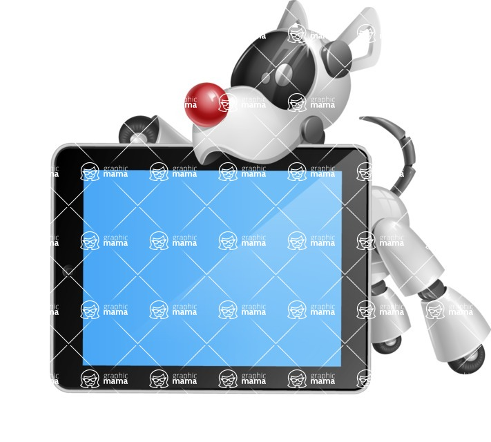 Artificial Intelligence Robot Dog Cartoon Vector Character AKA HERB - iPad 2