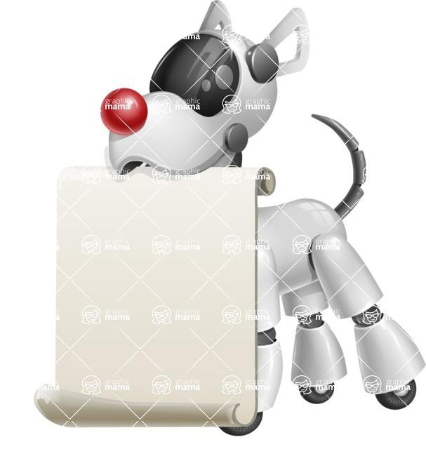 Artificial Intelligence Robot Dog Cartoon Vector Character AKA HERB - Sign 1