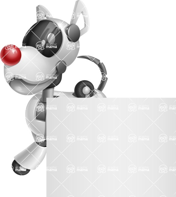Artificial Intelligence Robot Dog Cartoon Vector Character AKA HERB - Sign 2
