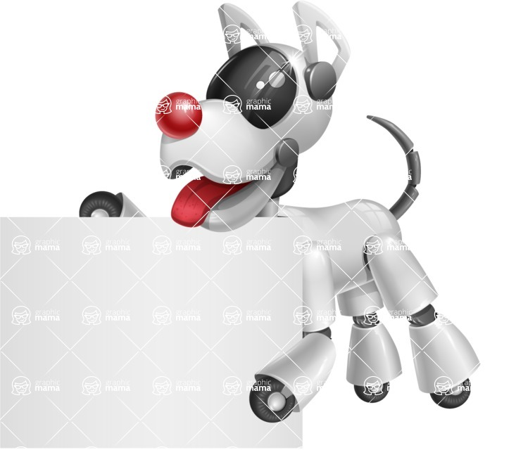 Artificial Intelligence Robot Dog Cartoon Vector Character AKA HERB - Sign 3