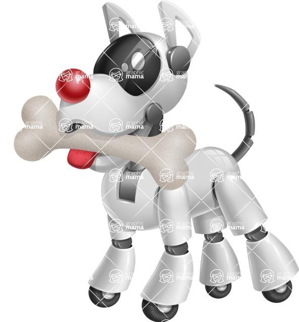 Artificial Intelligence Robot Dog Cartoon Vector Character AKA HERB - Bone 1
